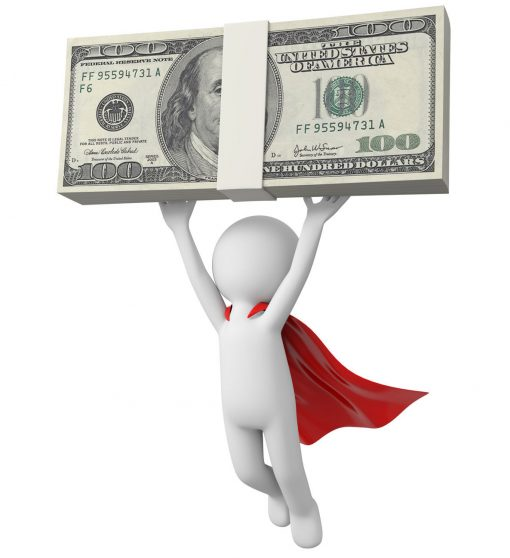 3d superhero,  flying with money in hand